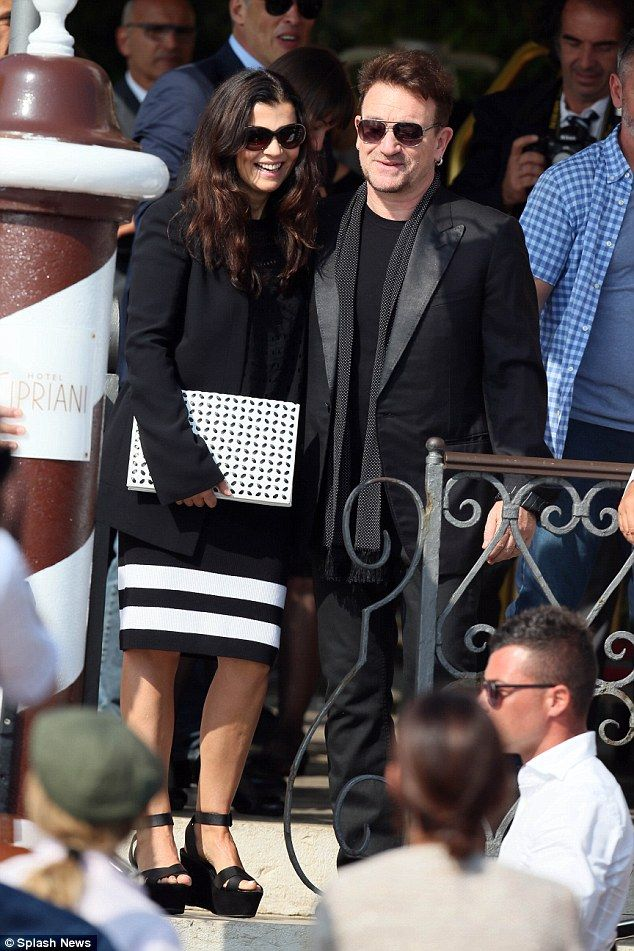 U2's Bono and his wife Ali in Venice Italy to attend the wedding of George Clooney and Amal Alamuddig, September 2014