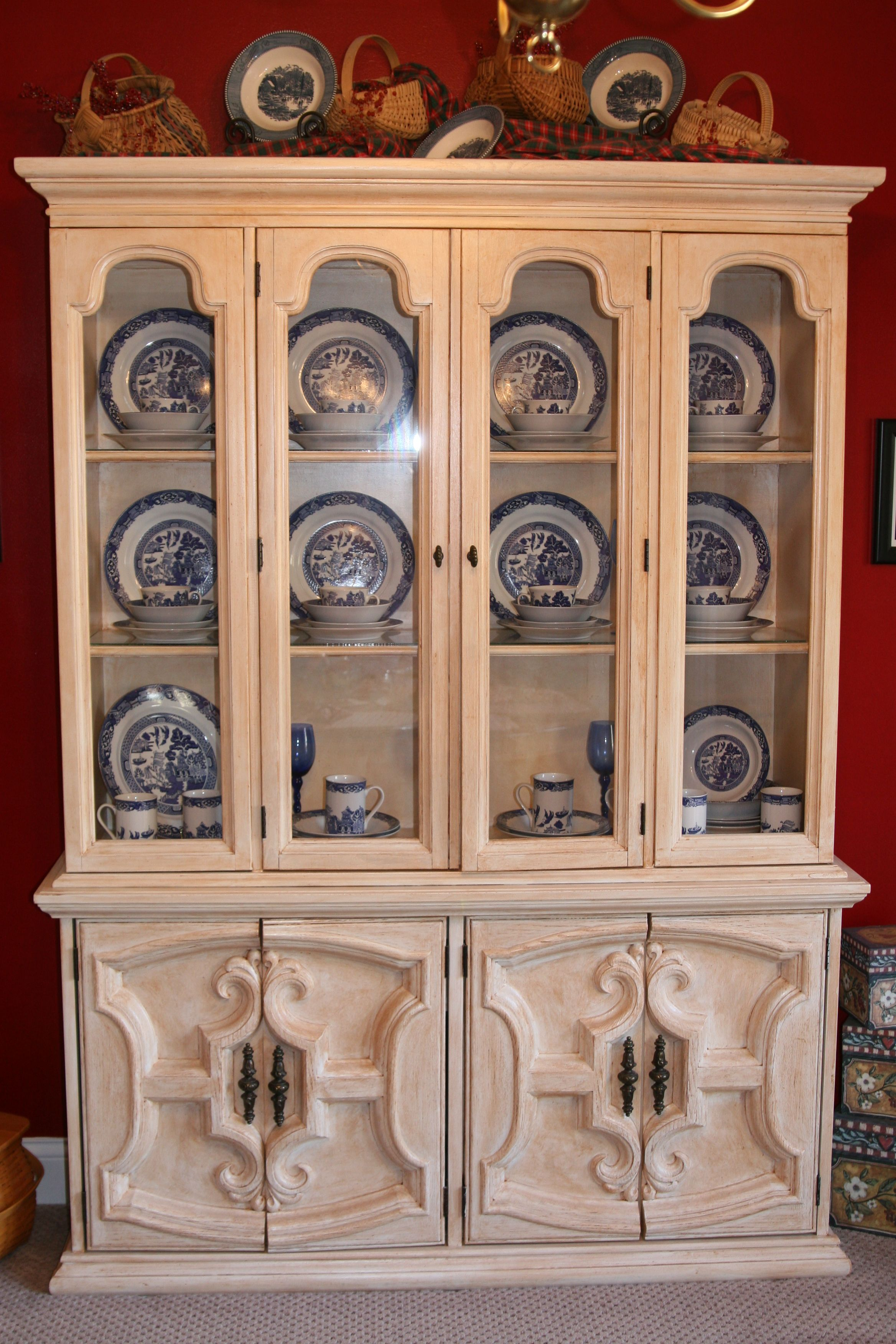 PAINTING OUR HUTCH WHITE AND RED INSIDE Dining Room China Cabinet Redo What Was