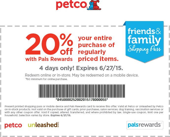 Pinned June 26th 20 off at Petco or 20 off 50 online