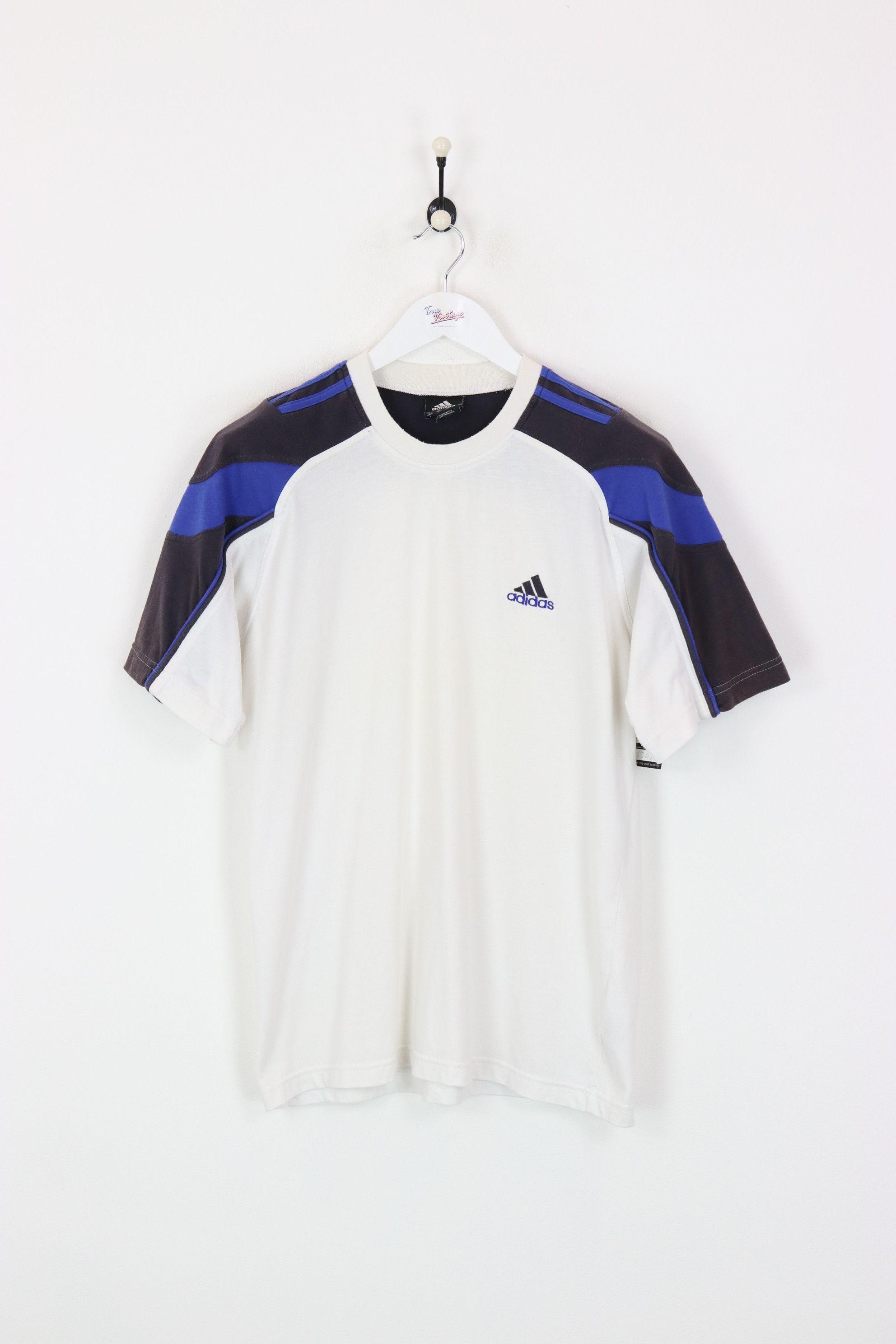 Adidas T-shirt White/Blue Medium
