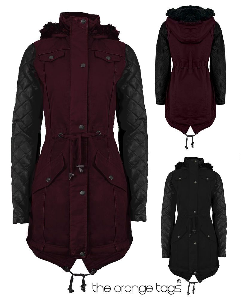 New Ladies Brave Soul Winter Parka Coat Jacket Fur Hooded Pvc