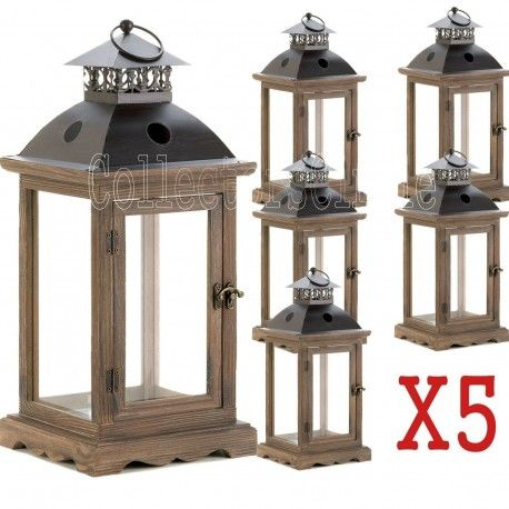 bulk price set of 5 large rustic monticello wood frame candle lanterns the stately