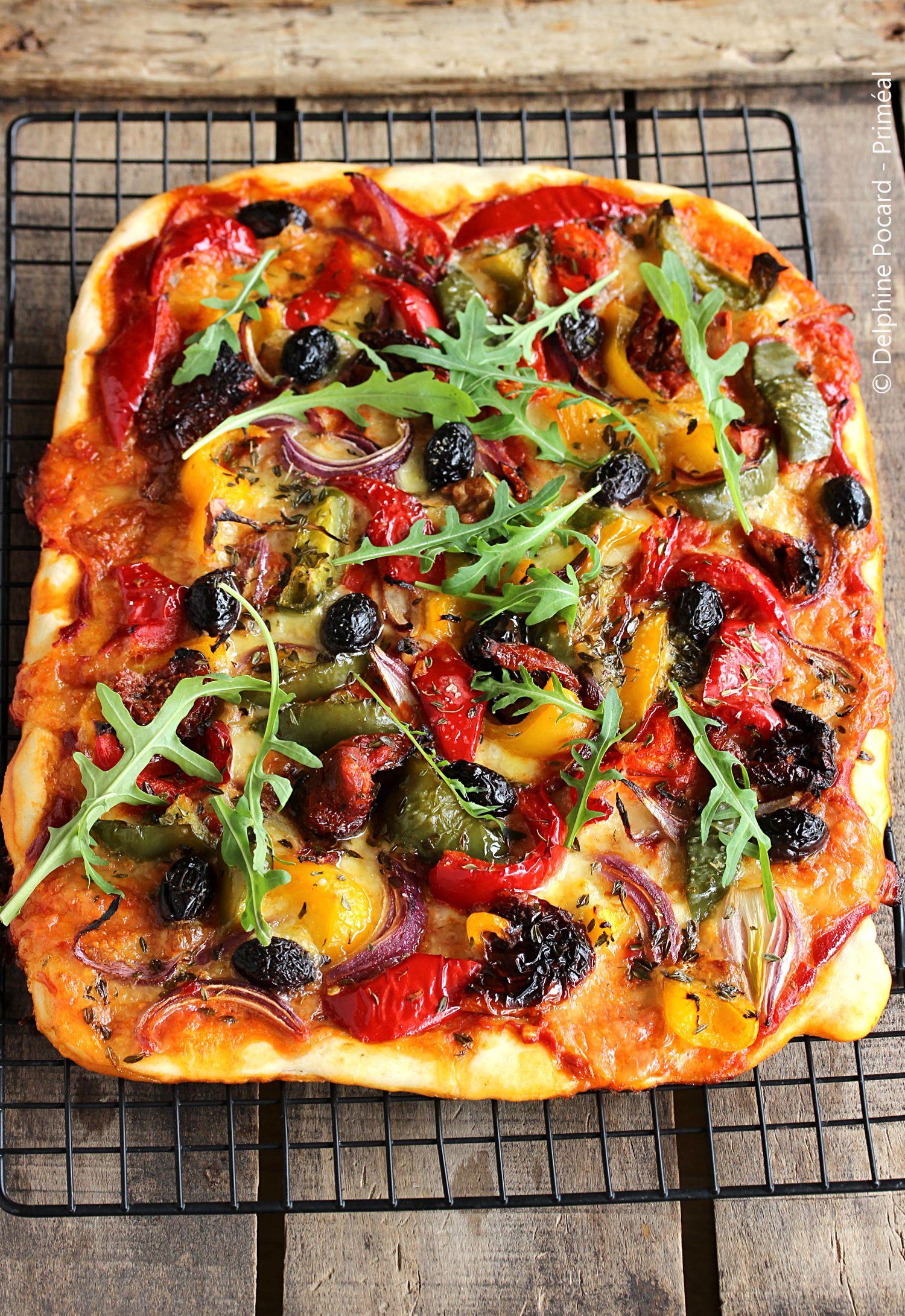 Recette végétarienne - Pizza veggie aux poivrons - Primeal ...