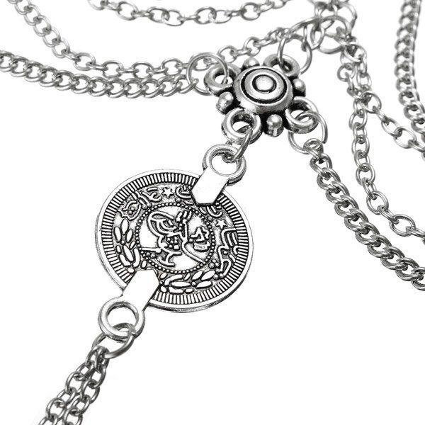 Punk #MultilayerMetalTassel #AnkletsCoin Ladies Ankle Bracelet Women #BeachBarefoot Chain Color silver.