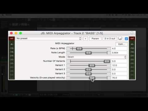 Reaper Howto : Using JS MIDI Arpeggiator plugin - YouTube