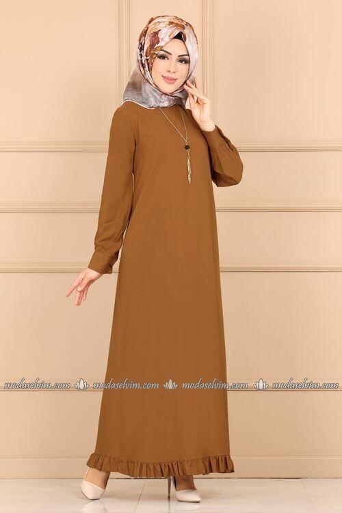 Modaselvim Elbise Firfir Detay Kolyeli Elbise 7008bm387 Taba Abaya Tarzi Puantiyeli Elbise Cicekli Elbise