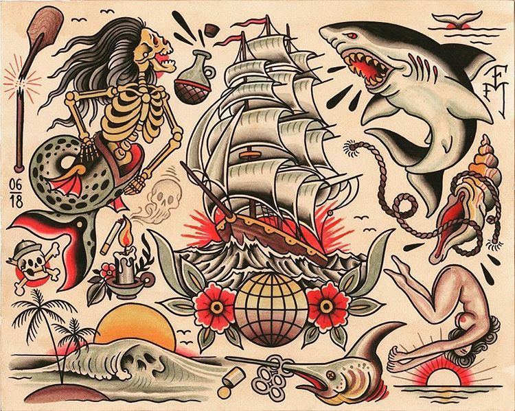 Flash By Falkmalisch Traditional Traditionalflash Flashtatto Old School Tattoo Designs Traditional Tattoo Old School Traditional Tattoo Design