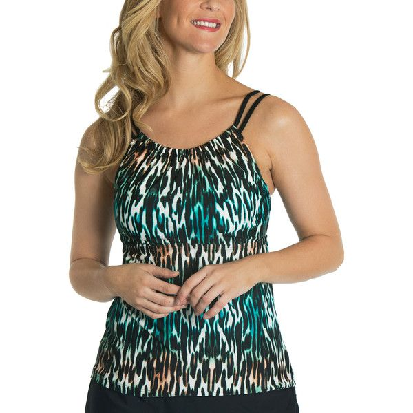 Beach Diva Black & Teal Abstract Molded Tankini Top ($27) ❤ liked on Polyvore featuring swimwear, bikinis, bikini tops, plus size, black swim top, plus size bikini, plus size swimwear, black bikini top and black swimsuit top