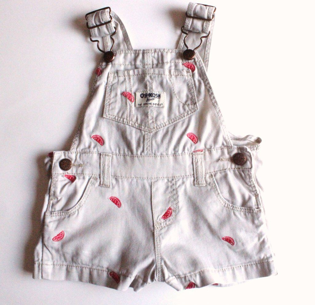 Osh Kosh Shortalls With Embroidered Watermelon Motif For Baby Girl So Cute For Summer Used Baby Clothes Online Kids Clothes Storing Kids Clothes