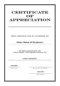 Certificate Of Appreciation  A Portrait  Engraved  Fundraising