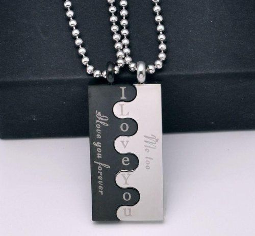 """Stainless Steel Couple """"I Love You Forever / Me Too"""" Lovers Puzzle Couple Necklace Set Jewelry"""