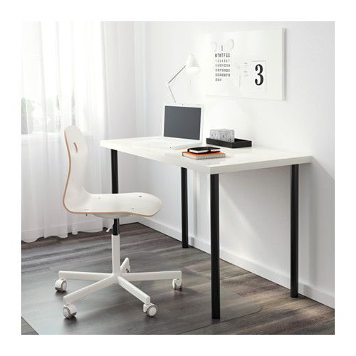 LINNMON / ADILS Table, High Gloss White, Black High Gloss White/black 47