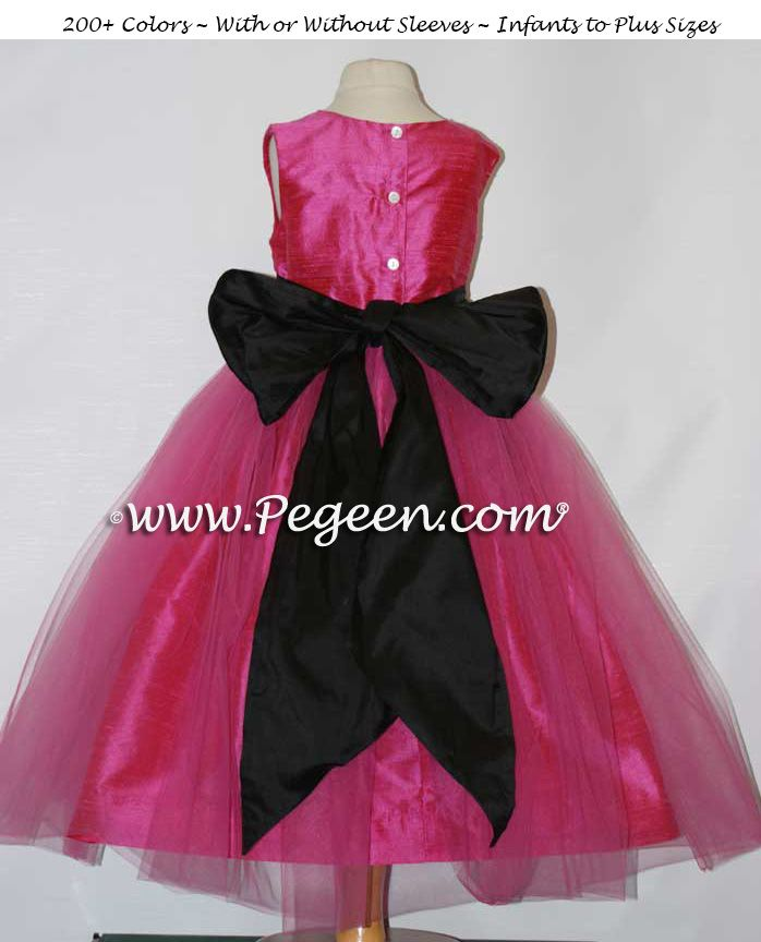 d22b6ff193d SHOCK PINK AND BLACK SASH CUSTOM FLOWER GIRL DRESSES STYLE 356 BY PEGEEN