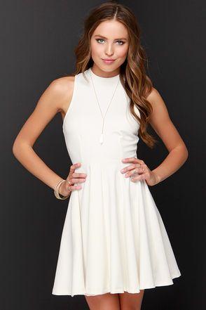 428e4b269f Others Follow Destiny Dress - Ivory Dress - Skater Dress - Mock Neck Dress  -  45.00