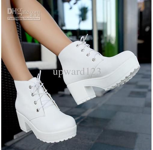 Boots Platform Shoes Short Boots Women Chunky Heel Ankle Boots Knight Boots  White Black 2018 from upward123, $15.04