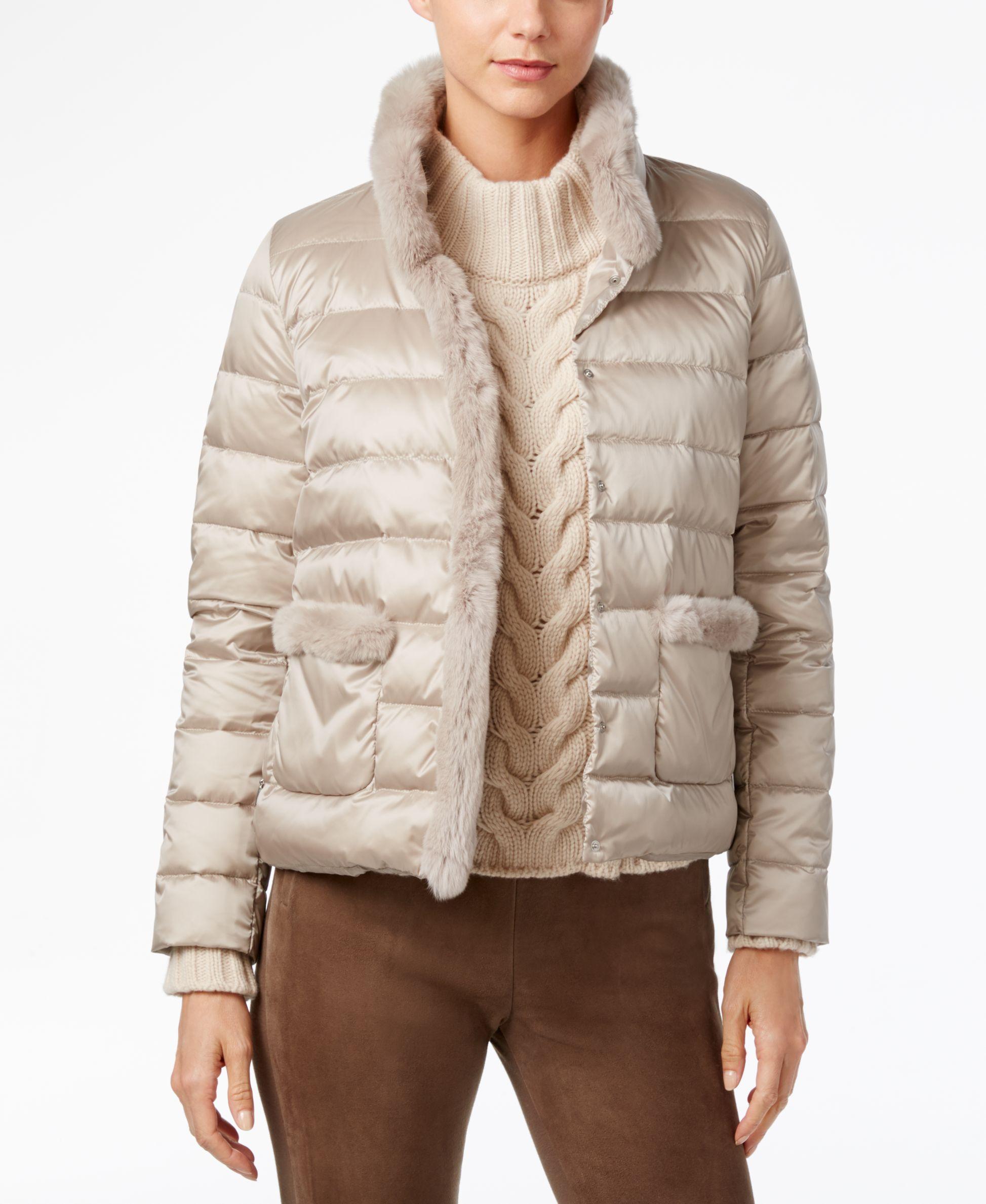 Weekend Max Mara Rabbit Fur-Trim Puffer Coat  41a60f25167