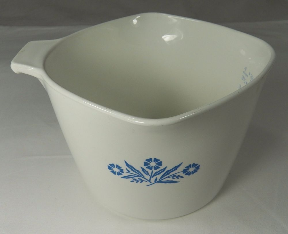 Corning Ware 1 Qt Measuring Cup P 55 Sauce Pan White With Blue
