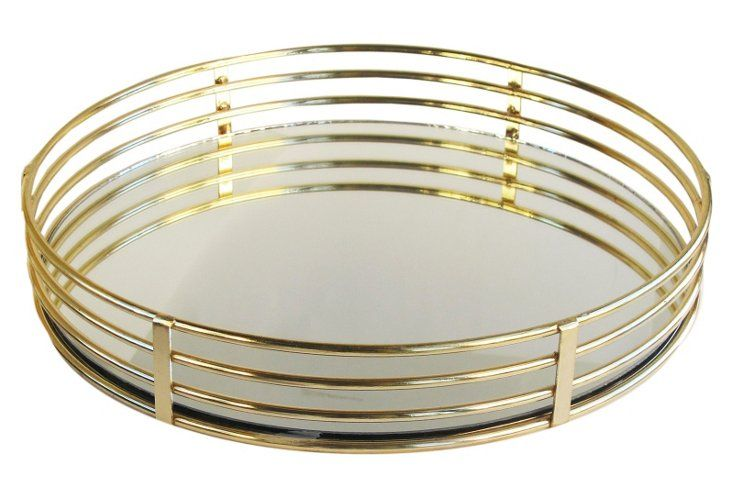 15 Round Mirrored Tray Gold Mirror Tray Gold Circle Mirror Circle Mirror