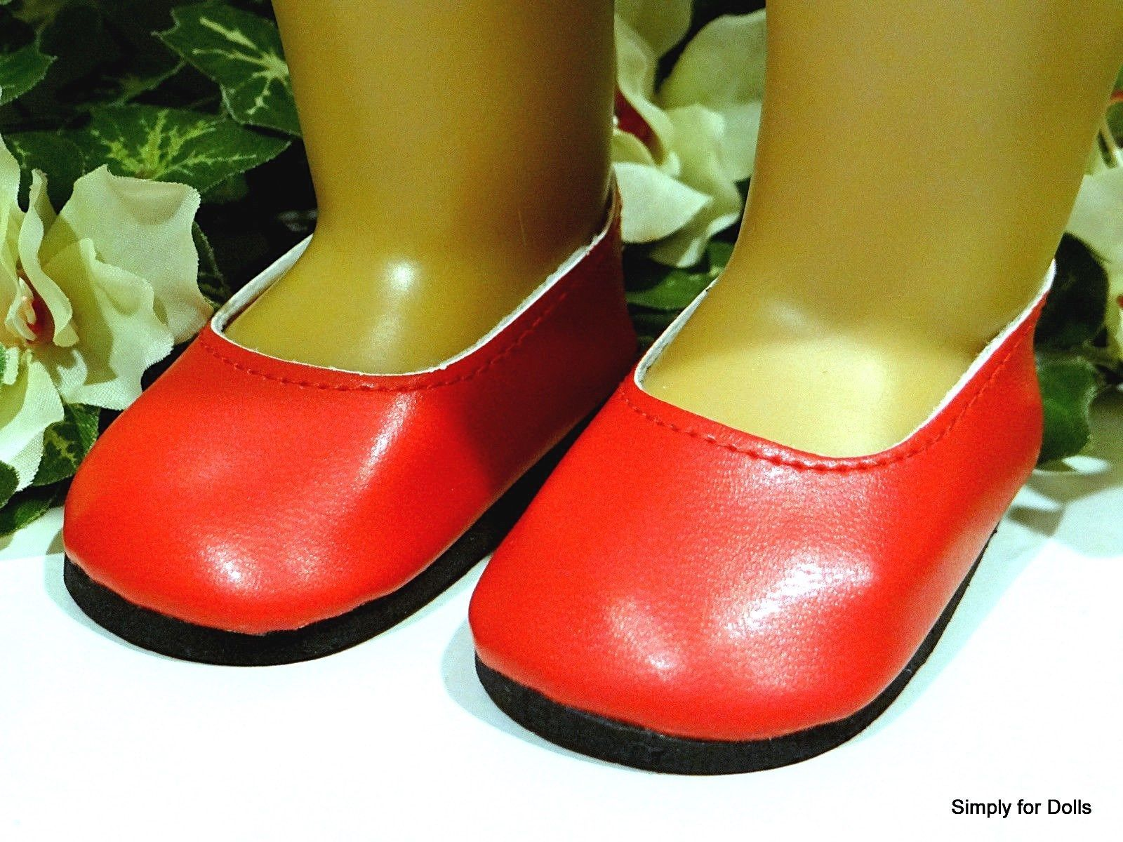 $3 78 Bright Red Simple Slip Ballet Flats Doll Shoes Fits 18
