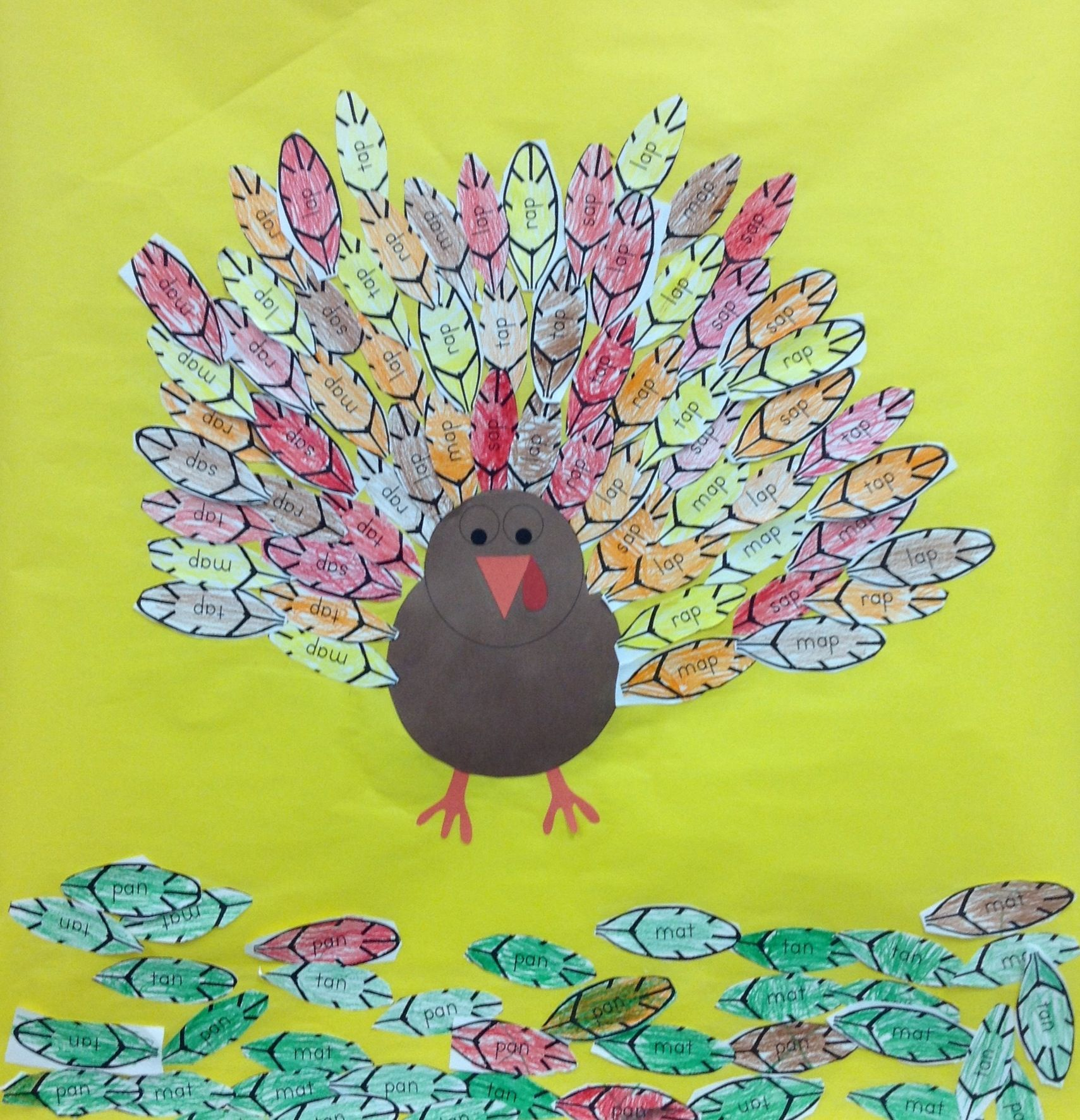 "-ap family turkey! Students color and sort words by word family. Then, glue the words in the ""family"" to the turkey.  The others go on he ground."