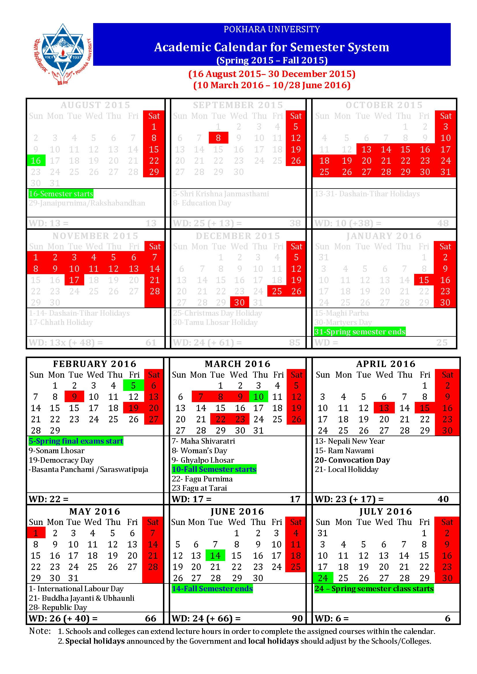 Academic Calendar 2016-2020 Pokhara University New Academic Calendar for Ongoing Semesters
