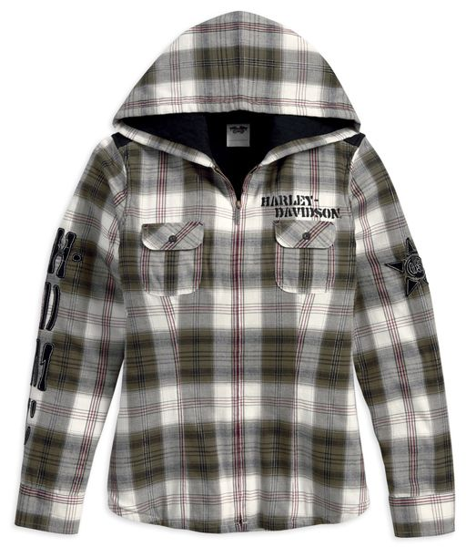 96071-13VW - Harley-Davidson® Womens Quilted Flannel Hooded ... : quilted flannel jacket with hood - Adamdwight.com