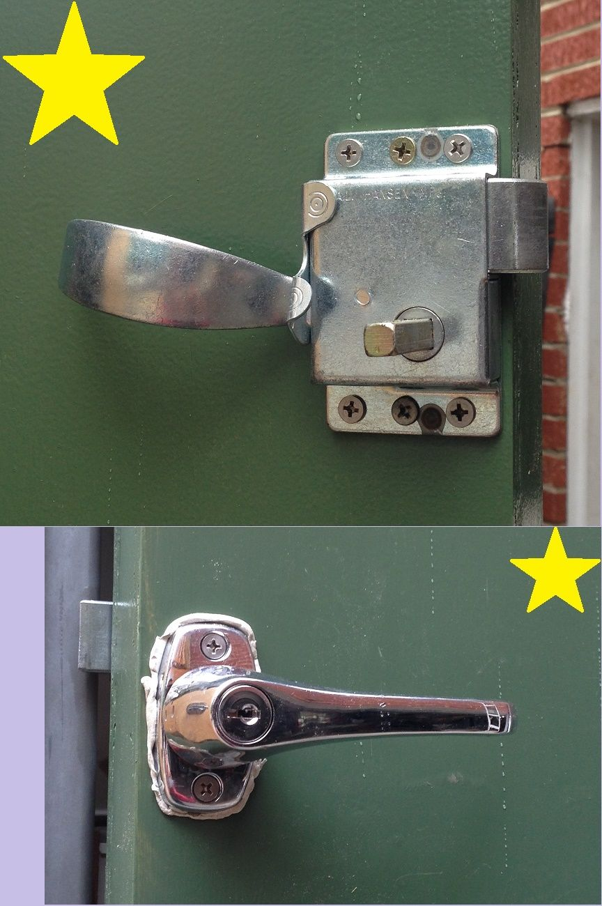 CANNED HAM  DOOR LATCH FROM u0027Vintage Trailer Supplyu0027 W/ lockable outside handle - works great!! Havenu0027t cleaned the puddy off the handle yet. & CANNED HAM