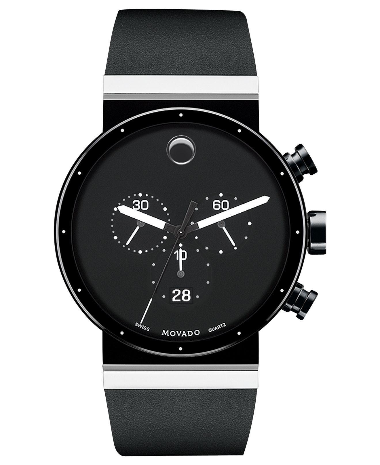 Movado Watch, Men's Swiss Chronograph Sapphire Synergy Black Rubber Strap 42mm 0606501 - Movado - Jewelry & Watches - Macy's