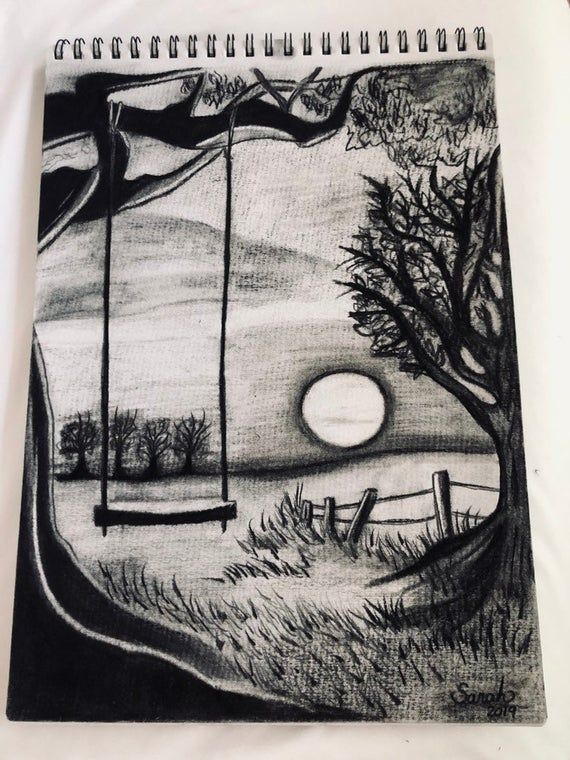 Sunset Scenery Sketch : sunset, scenery, sketch, Original, Drawing, Swing, Sunset, Trees, Nature, Drawings,, Drawings, Simple,