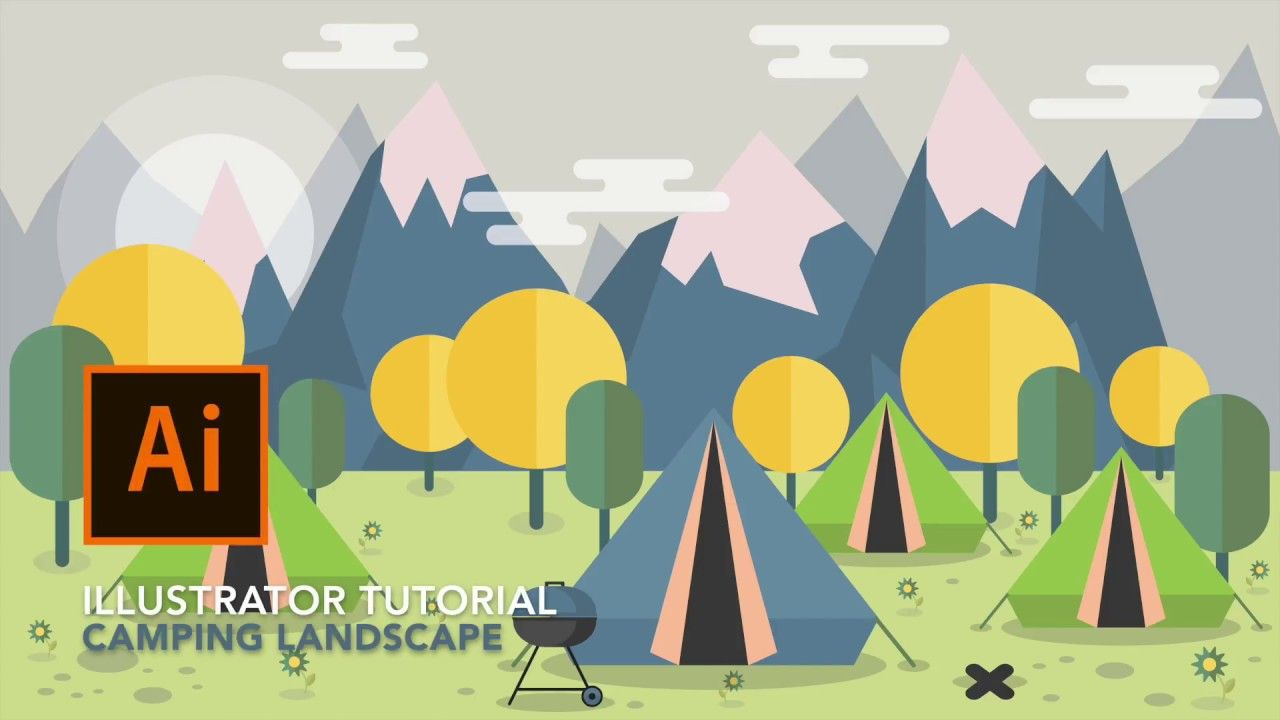 adobe illustrator tutorial for beginners - how to draw campground