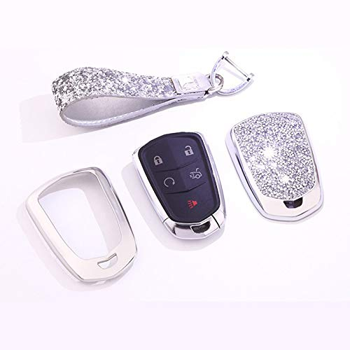 2014-2019 CTS 4 5 6 Buttons 3D Bling keyless Entry Remote Smart Key Fob case Cover for 2016-2019 Cadillac CT6 Silver 2015-2019 XTS SRX ATS Accessories,with Keychain TM 2017-2019 XT5 Royalfox