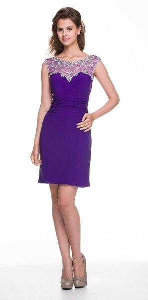 4b333770e351 Short Semi Formal Purple Evening Dress Modest Sleeveless Beading ...