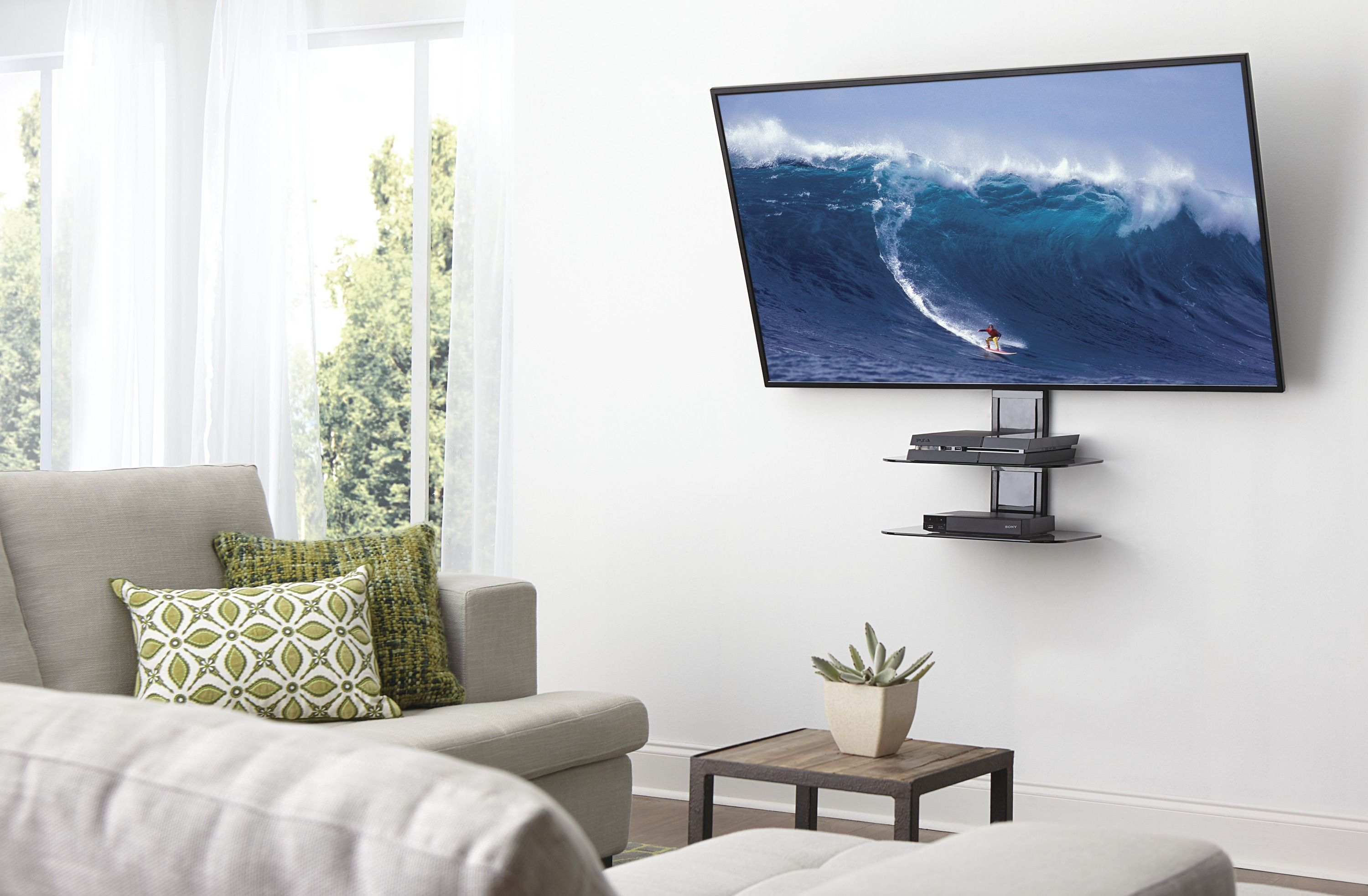 When You Mount A Tv You Don T Want Cords Dangling Everywhere Or Components All Over The Place Luckily There Are Some Org Wall Mounted Tv Mounted Tv Modern Tv