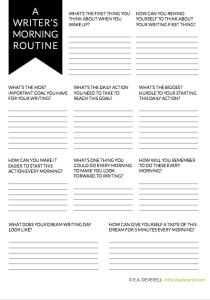 Morning Routines for Writers (Writer Worksheet Wednesday) #morningroutine