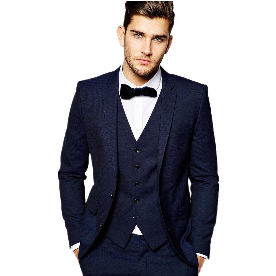 Click to Buy << High Quality Two Button Navy Blue Groom Tuxedos ...