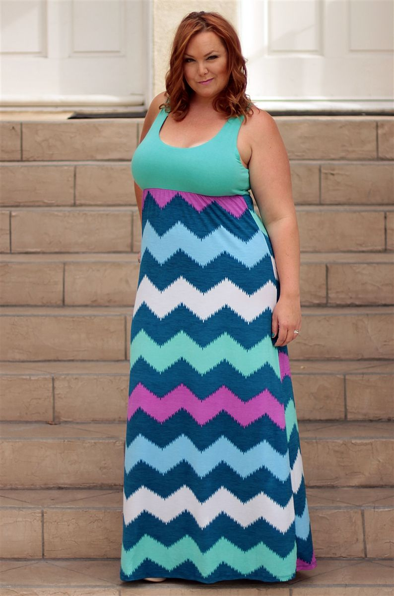 Plus size chevron maxi dress, Be Inspired Boutique #plussize ...