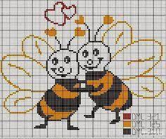 Resultado de imagem para abelhas em ponto cruz