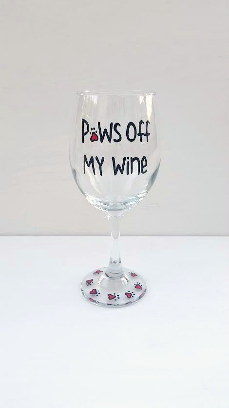 Download Paws Off My Wine Dog and Cat lover handpainted wine glass ...