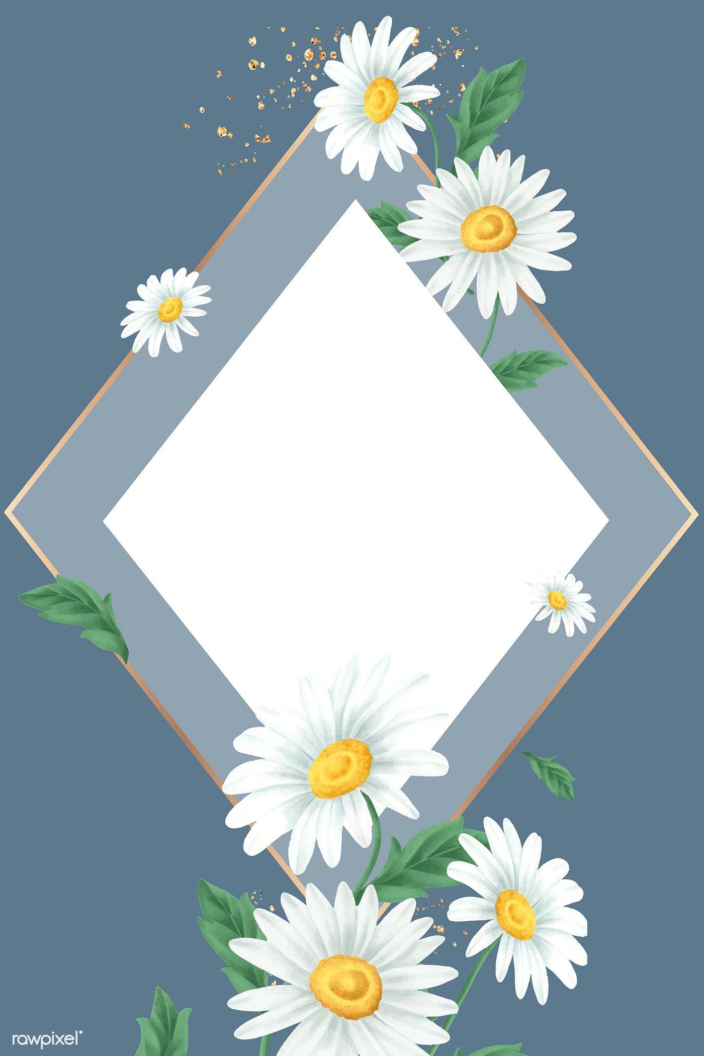 Daisy flower frame on blue background vector premium
