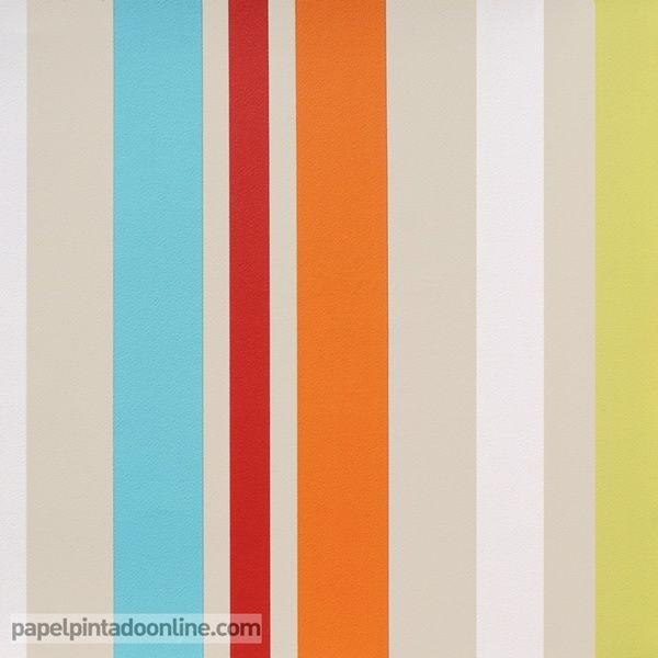 Papel Pintado Funny Walls 257-5619 de rayas verticales en diferentes ...