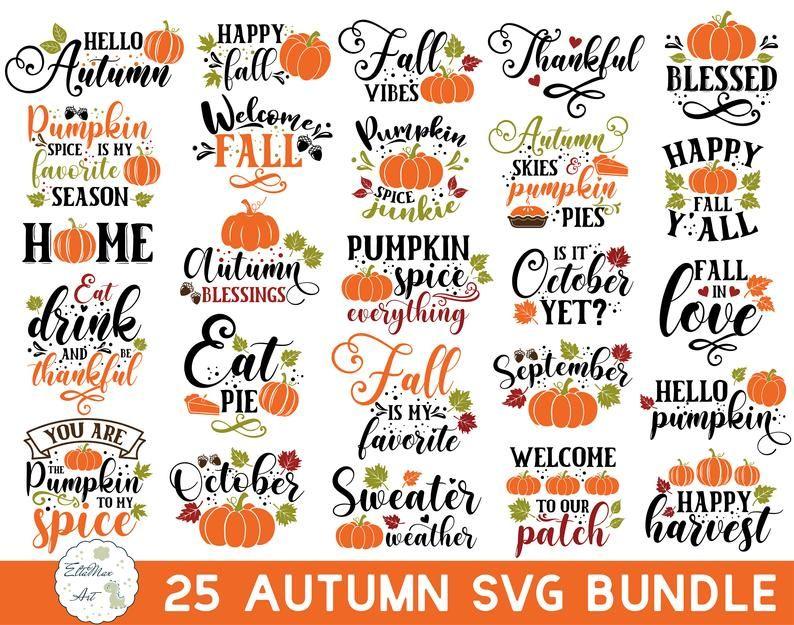 Fall SVG Bundle, Fall Pumpkin SVG Bundle, Autumn S