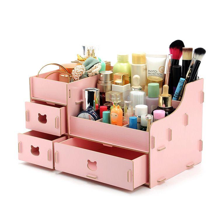 Kawaii Wood Makeup Organizer DIY Storage Box