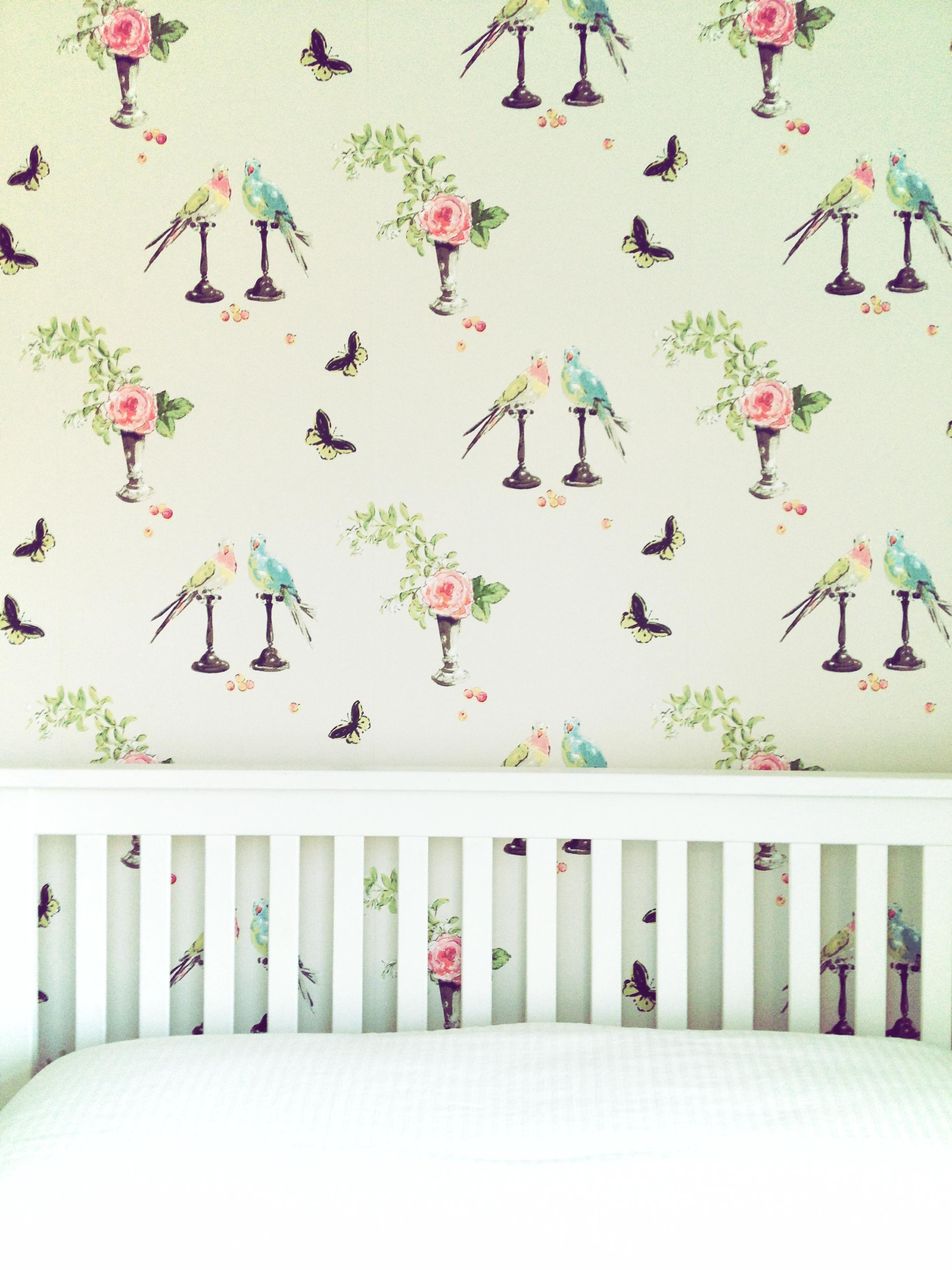 White bed frame & Nina Campbell Wallpaper. © Tiffany Grant-Riley ...