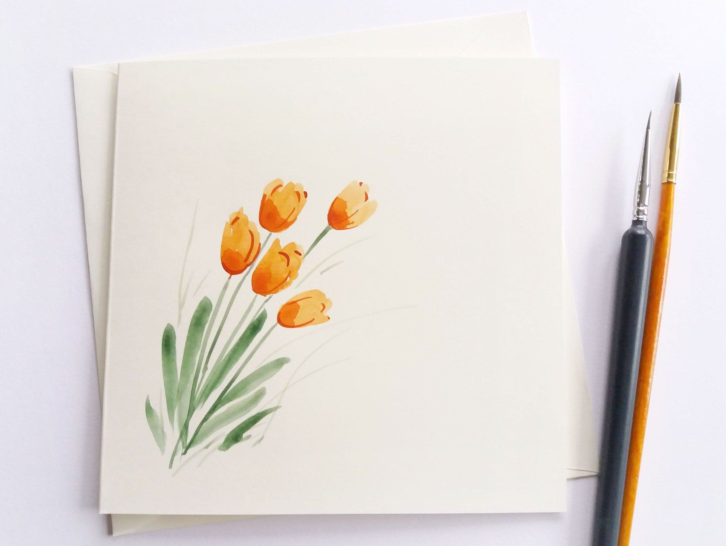 Greeting Card, Tulips - Simple, Minimalist, Hand painted Greeting