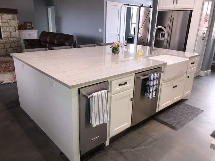 Island With Farmhouse Sink Dishwasher And Ice Maker Kitchen Island Decor Kitchen Remodel Layout Kitchen Island Design