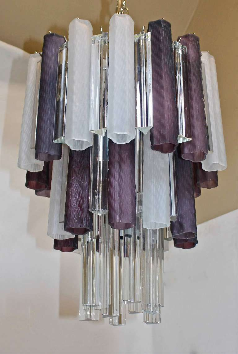 Murano italian purple white venini crystal combination chandelier