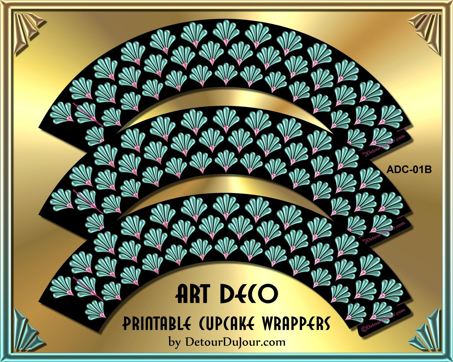 Art Deco Cupcake Wrappers ADC-01B, Art Deco - Wedding Cupcakes, Bridal Showers, Birthdays, Office Parties, etc. by DetourDuJour on Etsy