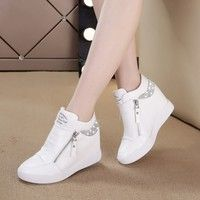 White Shoes High Heels Shoes Sneaker