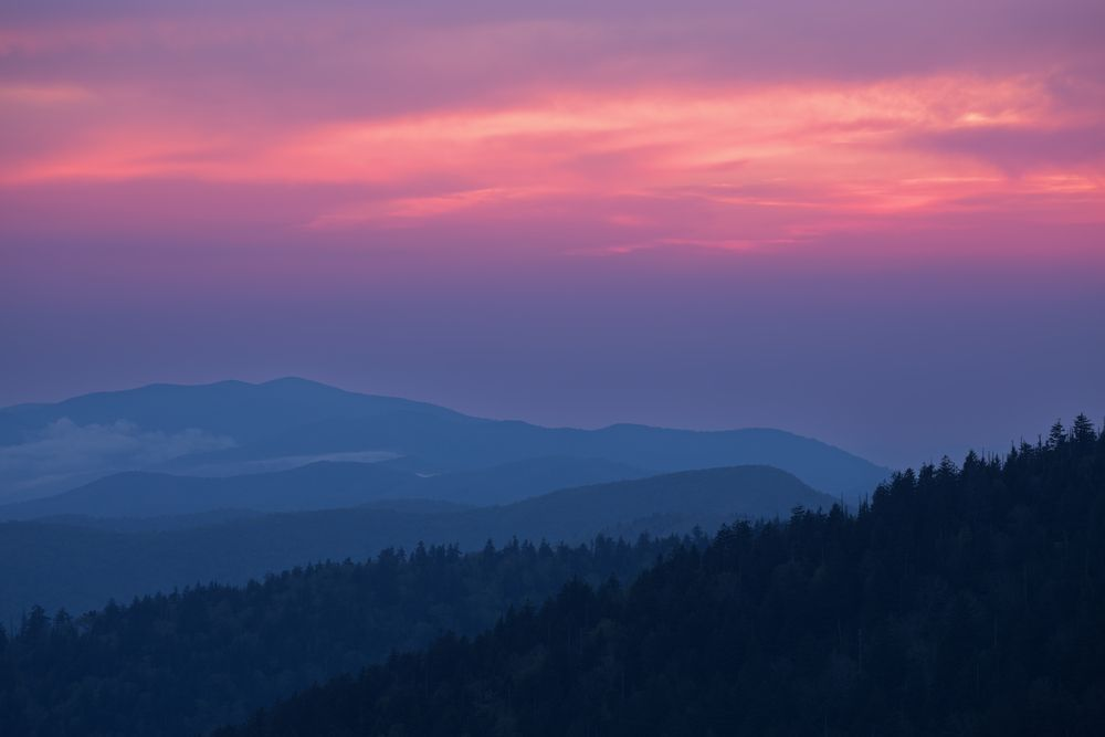 Pink sunrise in the Great Smoky Mountains National Park