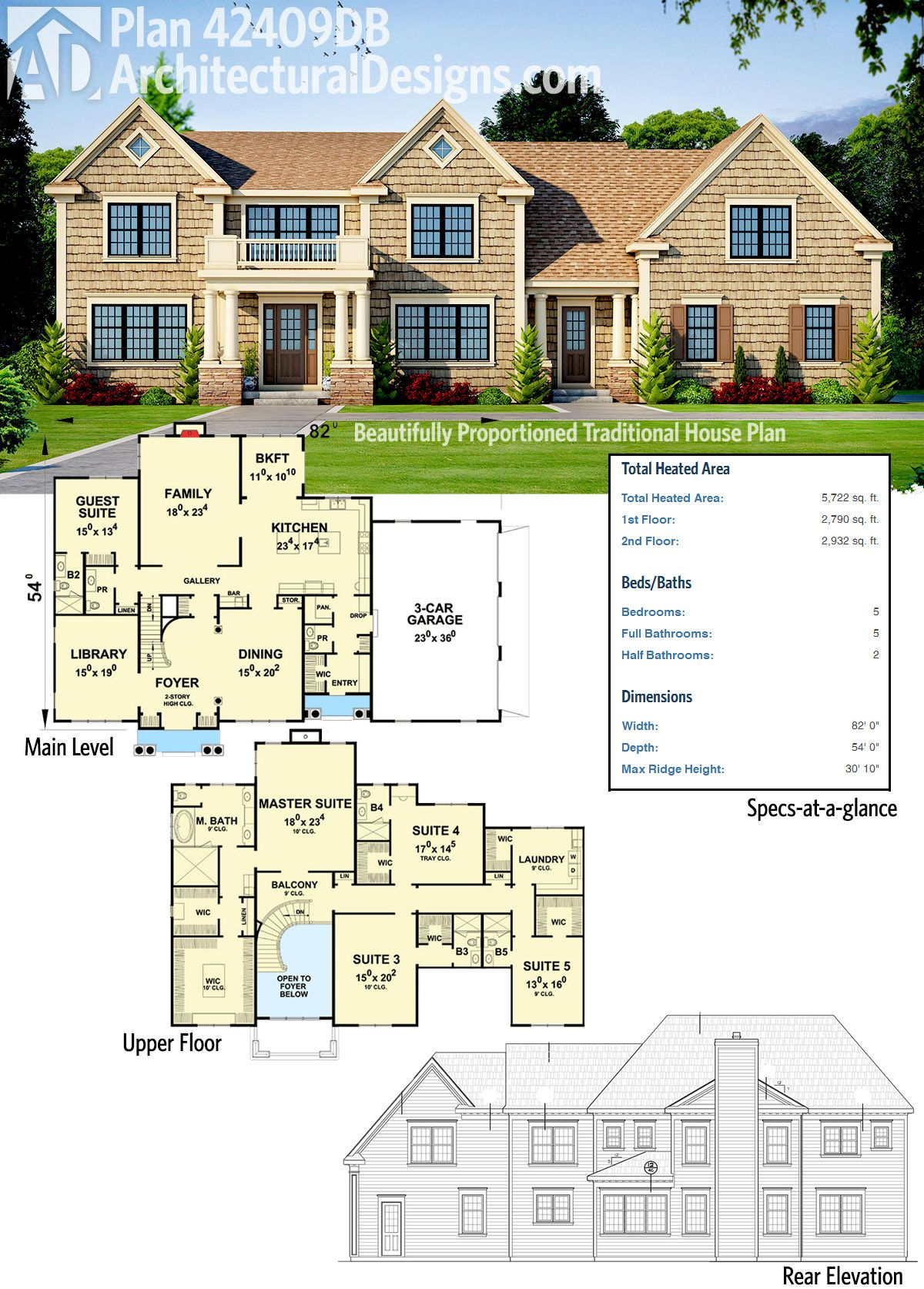 Plan 42409db Beautifully Proportioned Traditional House Plan Luxury House Plans Traditional House Plan House Plans